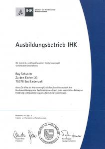 IHK-Ausbildungsbetrieb Roy Schuster